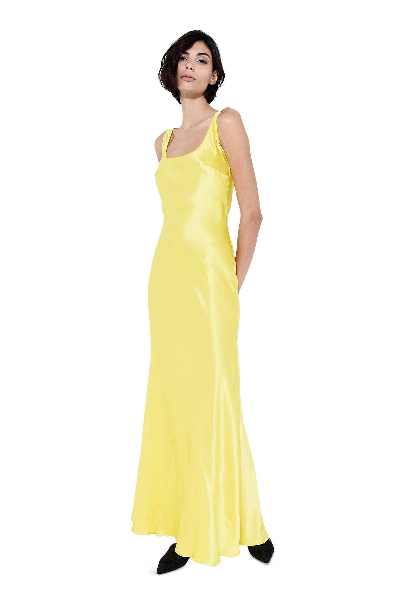 Bright yellow slip dress