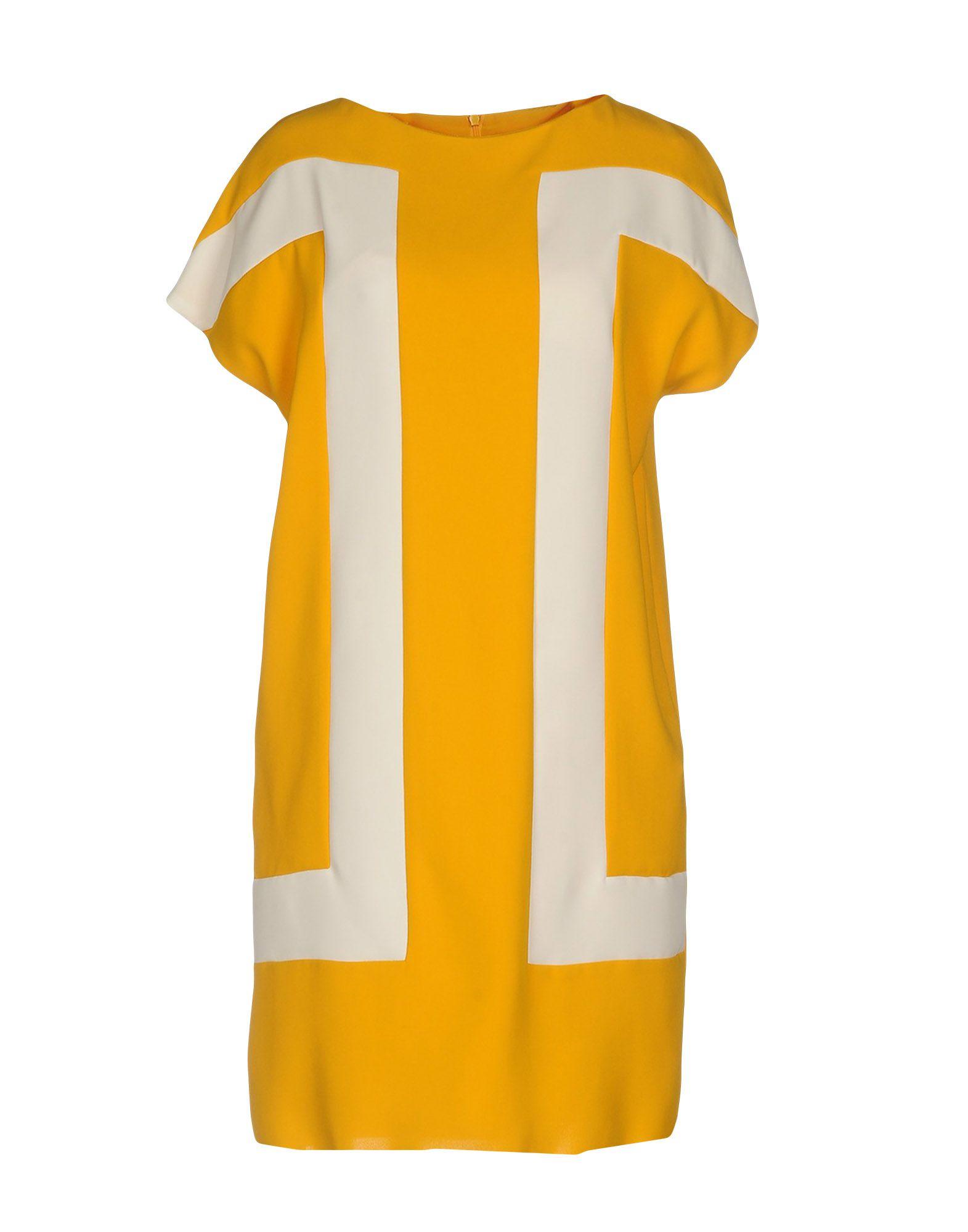 1-ONE Damen Kurzes Kleid Farbe Gelb Größe 3