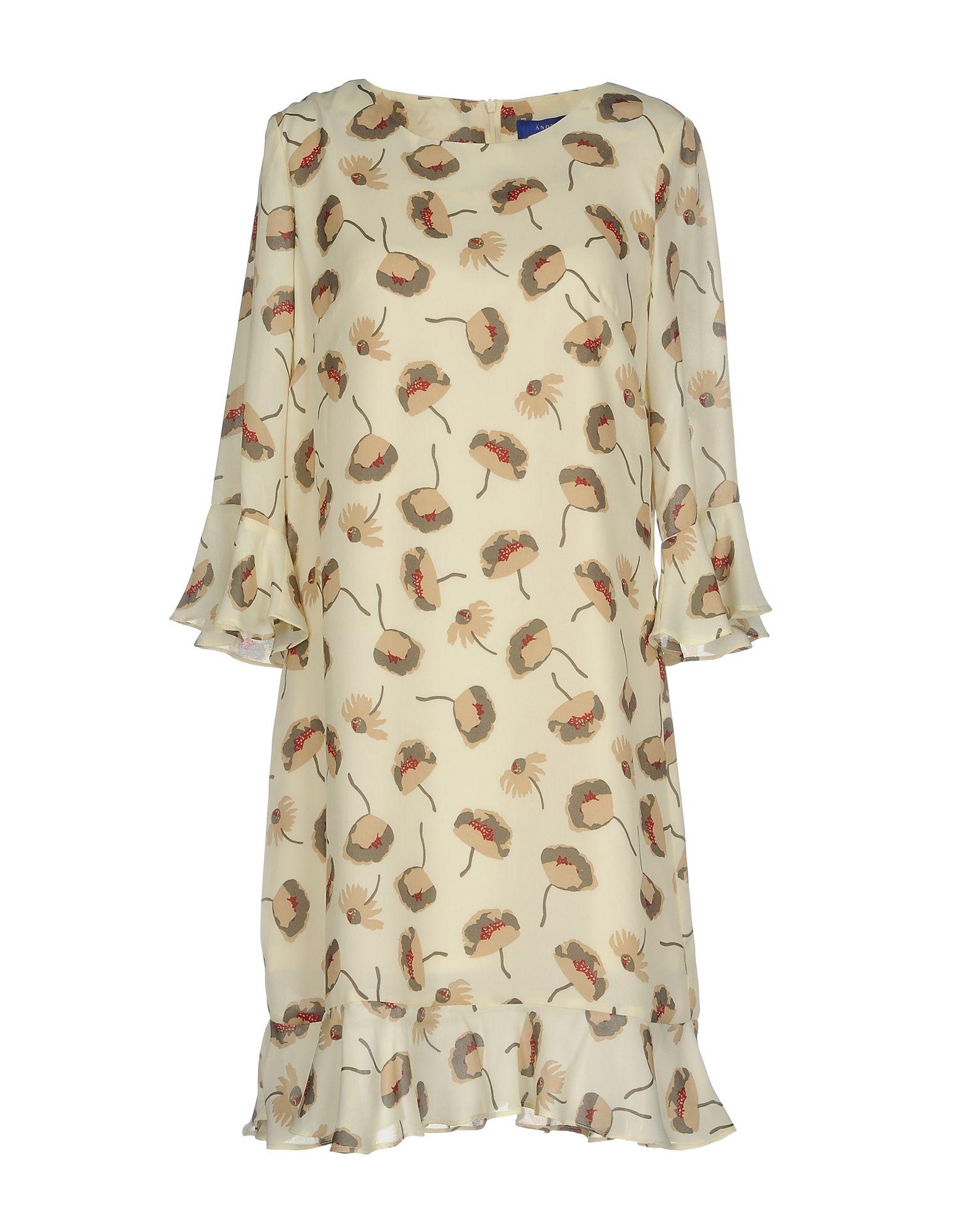 ANONYME DESIGNERS Damen Kurzes Kleid Farbe Beige Größe 6
