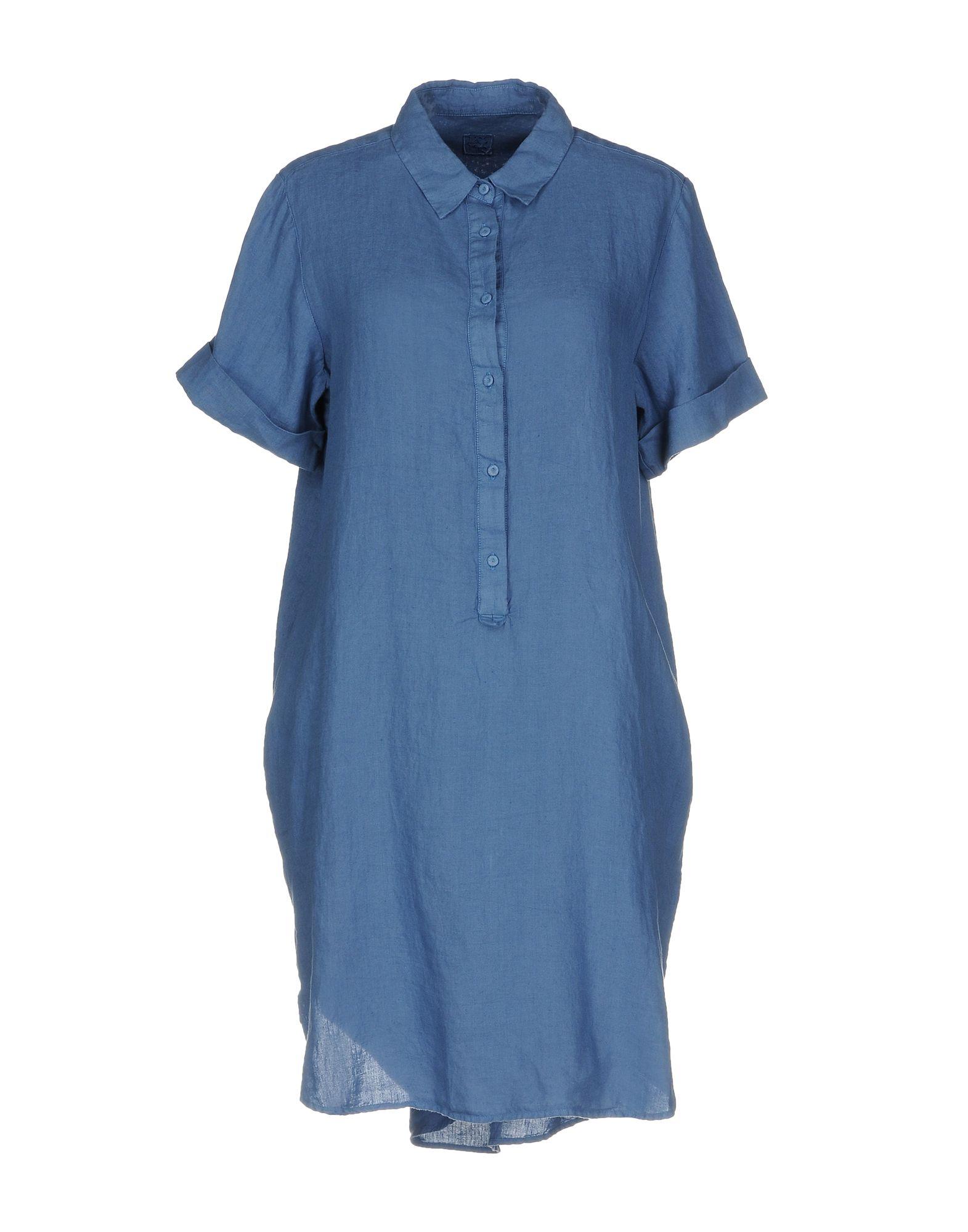 120% LINO Короткое платье рубашки lino russo рубашка индиго