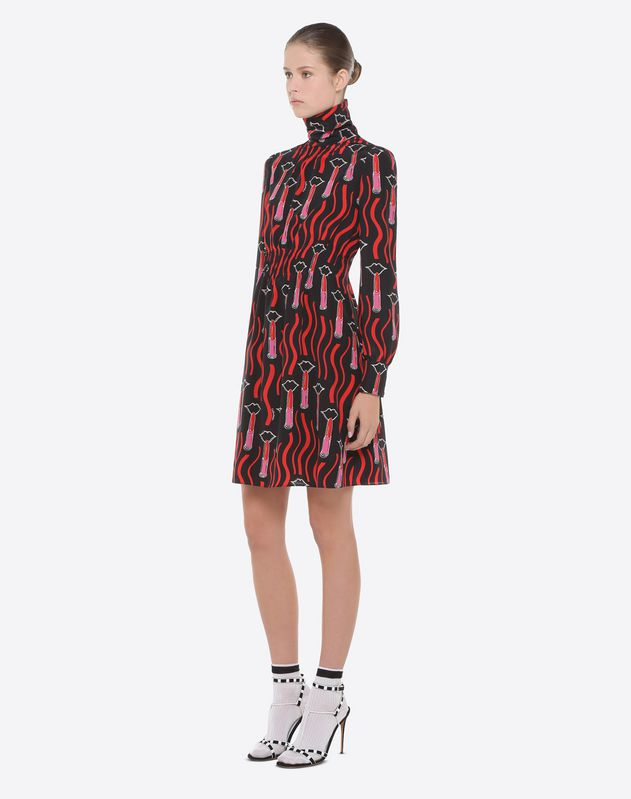 Lipstick Waves print dress