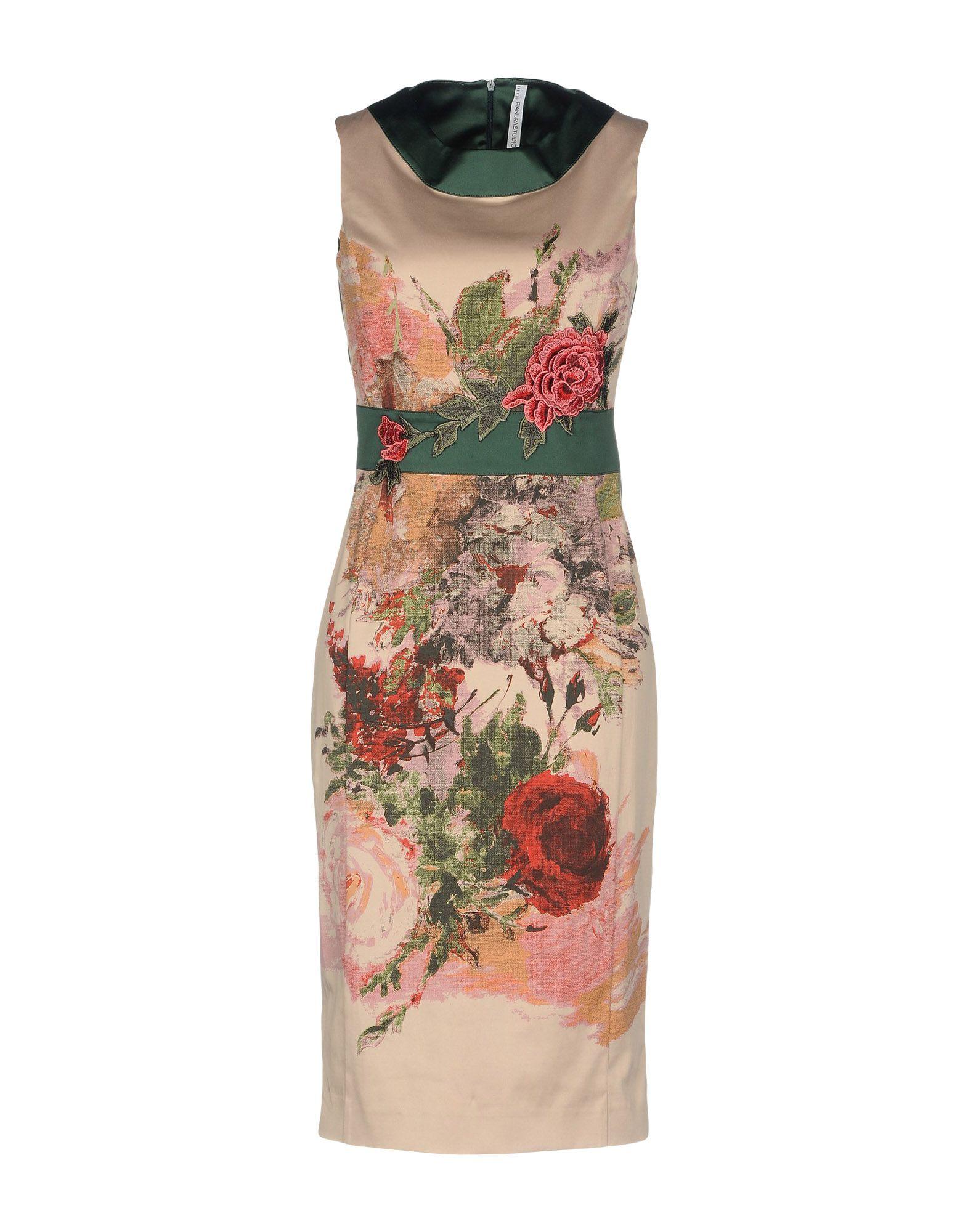 PIANURASTUDIO Damen Knielanges Kleid Farbe Beige Größe 4