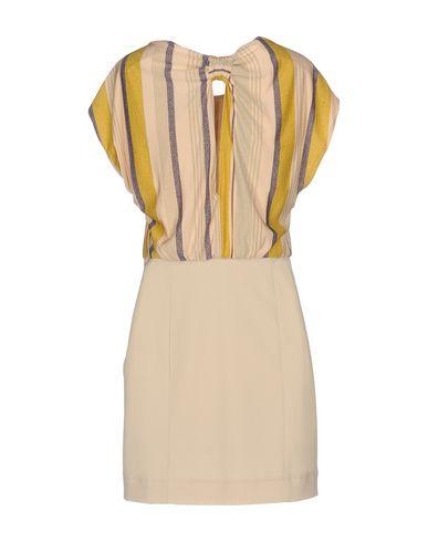 PATRIZIA PEPE Damen Kurzes Kleid Beige Größe 30 74% Viskose 18% Metall 8% Elastan Polyester