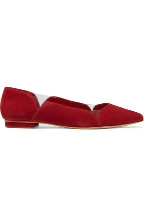 SCHUTZ Laina perspex-paneled nubuck point-toe flats