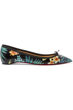 CHRISTIAN LOUBOUTIN Solasofia printed stingray-effect leather point-toe flats