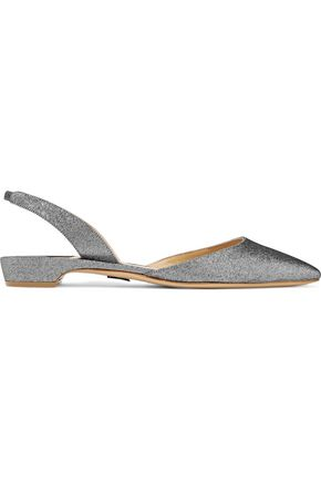 PAUL ANDREW Rhea lamé point-toe flats