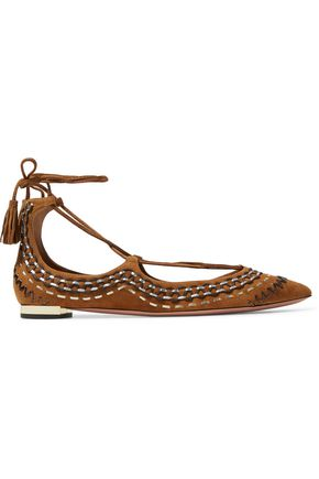 AQUAZZURA Christy Folk embroidered suede point toe flats