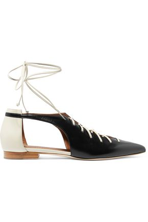MALONE SOULIERS Montana lace-up two-tone leather point-toe flats