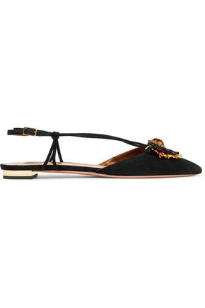 AQUAZZURA Samba raffia-trimmed suede point-toe flats