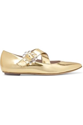 SIMONE ROCHA Perspex-embellished metallic tweed point-toe flats