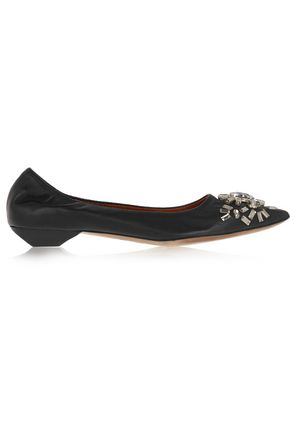LANVIN Crystal-embellished leather point-toe flats