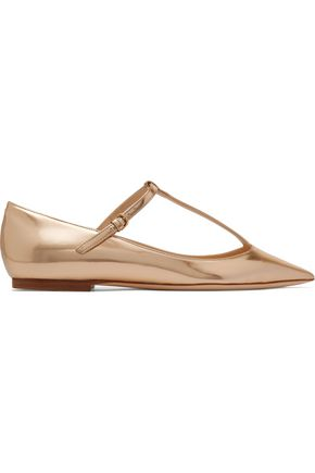 JIMMY CHOO Daria metallic leather point-toe flats