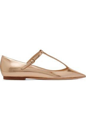 JIMMY CHOO Daria metallic leather point-toe flats