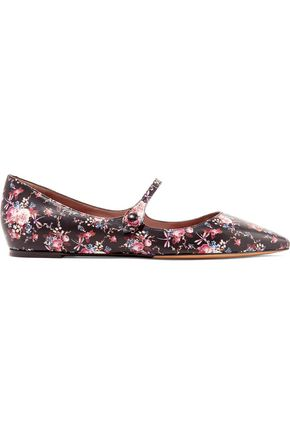 TABITHA SIMMONS Hermione floral-print leather point-toe flats