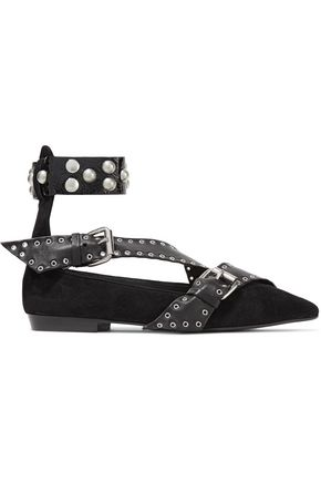 ISABEL MARANT Linzy embellished suede point-toe flats