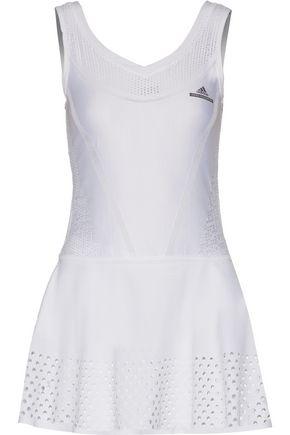 ADIDAS by STELLA McCARTNEY Perforated stretch-knit and neoprene tennis dress
