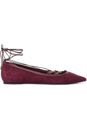 MICHAEL MICHAEL KORS Ursula leather-trimmed suede lace-up point-toe flats
