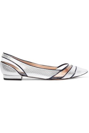 LUCY CHOI London PVC-paneled printed faux leather flats
