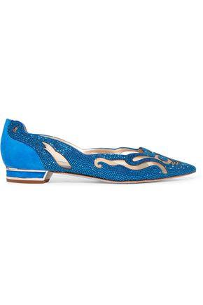 RENE' CAOVILLA Embellished suede point-toe flats