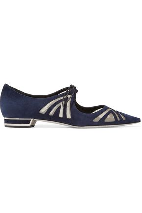 RENE' CAOVILLA Mesh-paneled suede point-toe flats