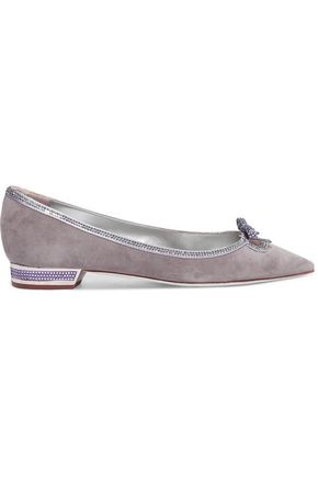 RENE' CAOVILLA Embellished suede point-toe flats