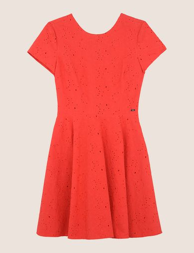 EYELET LACE FIT-AND-FLARE