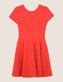ARMANI EXCHANGE EYELET LACE FIT-AND-FLARE Mini dress Woman r