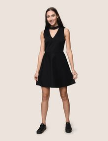 ARMANI EXCHANGE CUTOUT NECK FIT-AND-FLARE Mini dress Woman d