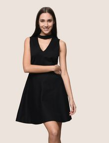 ARMANI EXCHANGE CUTOUT NECK FIT-AND-FLARE Mini dress Woman f