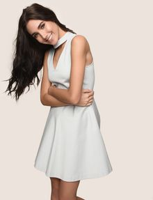 ARMANI EXCHANGE CUTOUT NECK FIT-AND-FLARE Mini dress Woman a