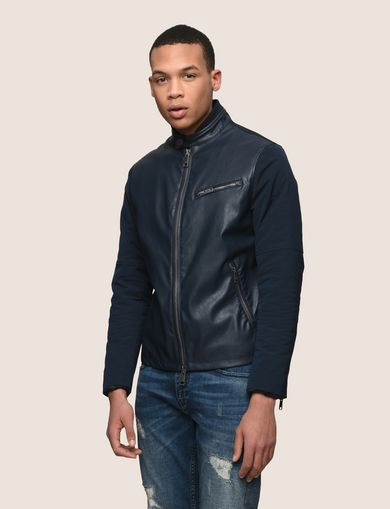 FLAT-FRONT MIXED MOTO JACKET