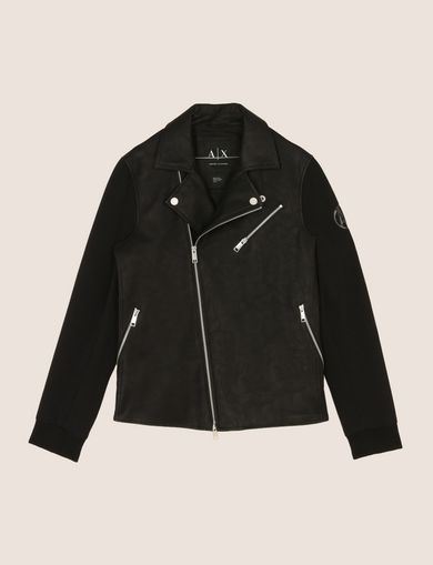 NEOPRENE-SLEEVE MOTO JACKET