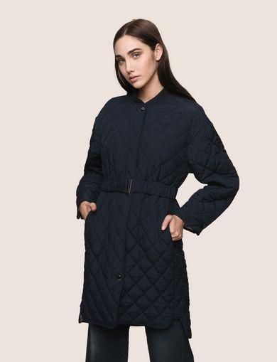 Women's funnel neck boucle coat