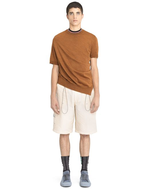 lanvin rust-colored asymmetrical twisted sweater men