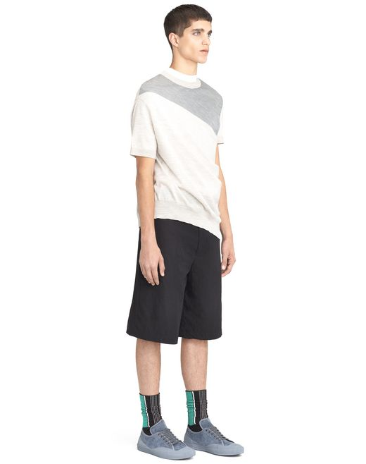 lanvin two-toned asymmetrical twisted sweater men