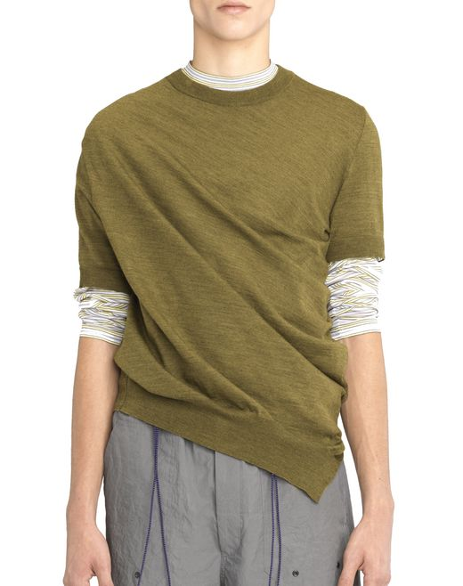 ANTIQUED GREEN ASYMMETRICAL TWISTED JUMPER - Lanvin