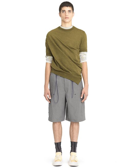 lanvin antiqued green asymmetrical twisted sweater men