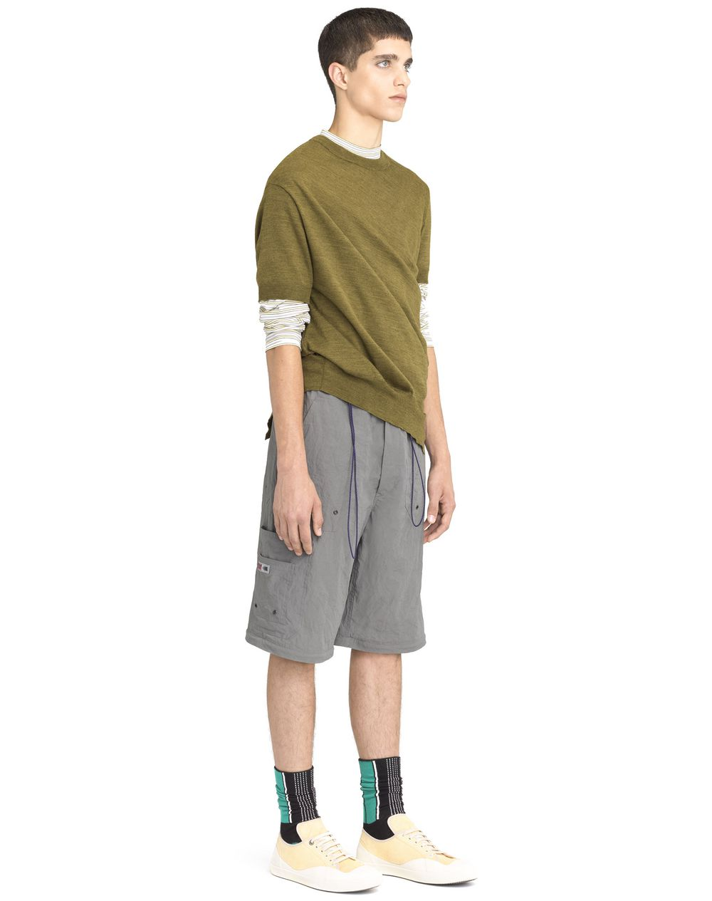 ANTIQUED GREEN ASYMMETRICAL TWISTED SWEATER - Lanvin