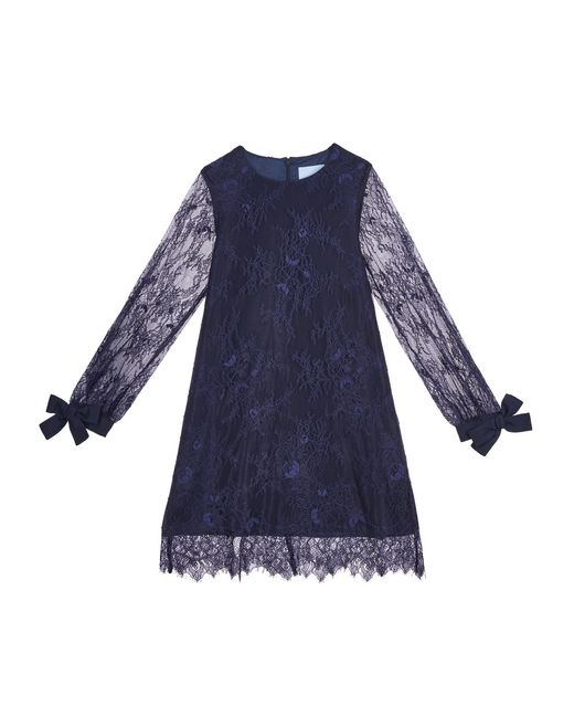 NAVY BLUE LACE DRESS - Lanvin