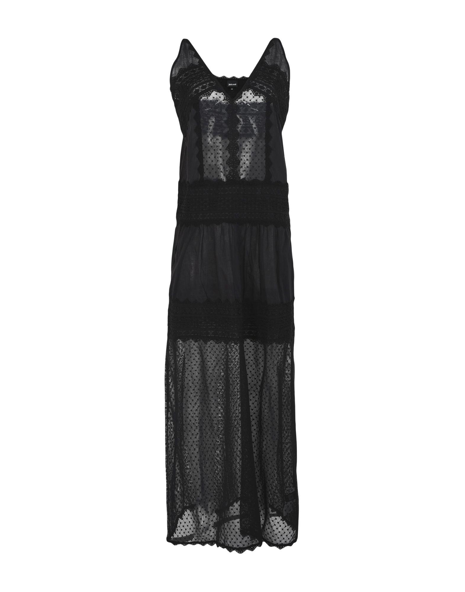 《セール開催中》JUST CAVALLI レディース ロングワンピース&ドレス ブラック 36 コットン 100%