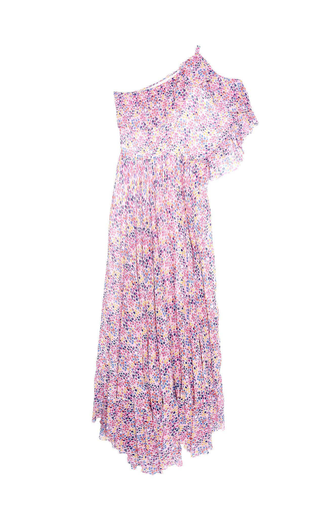 花柄ワンショルダードレス