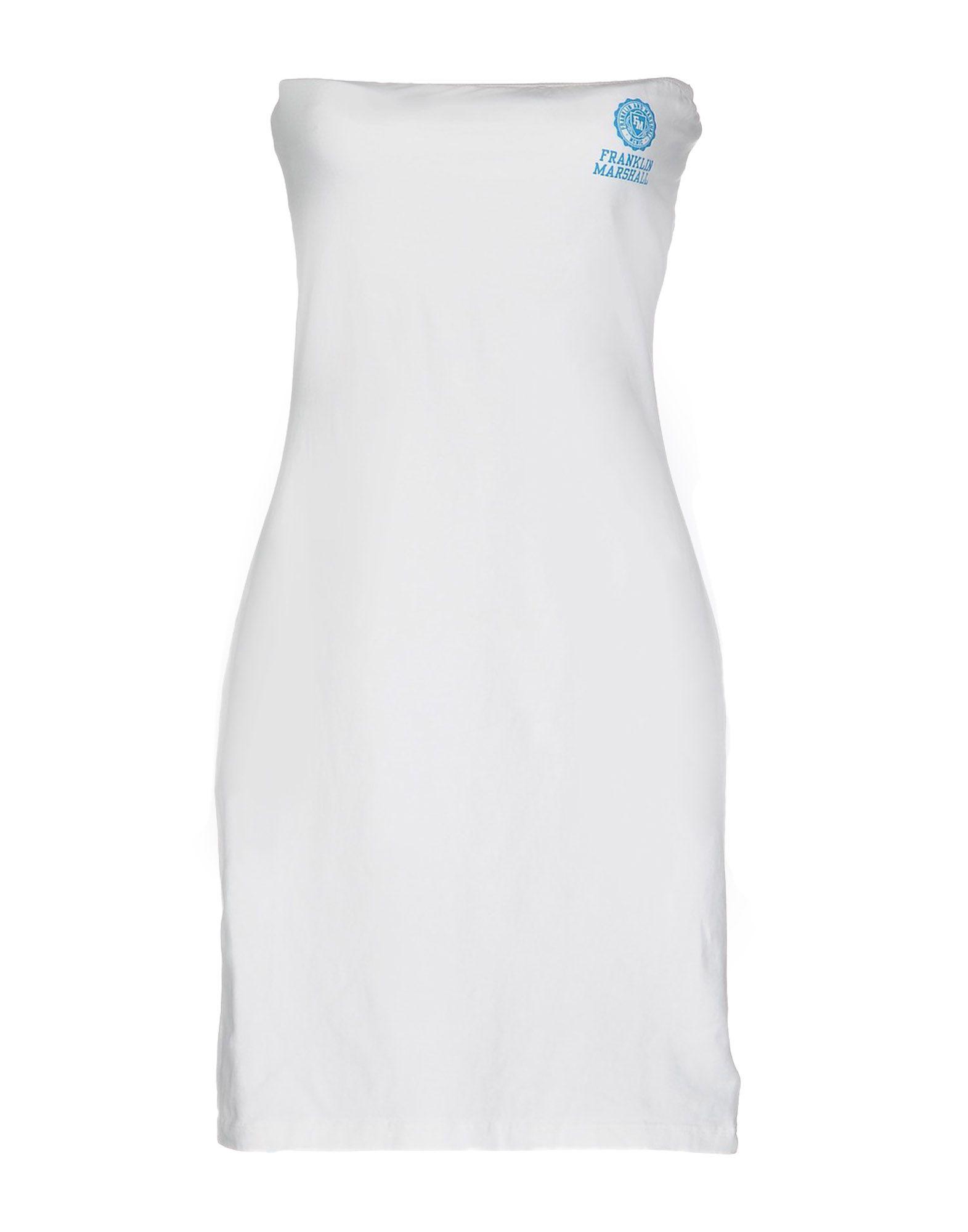 《セール開催中》FRANKLIN &MARSHALL レディース ミニワンピース&ドレス ホワイト M コットン 95% / ポリウレタン 5%