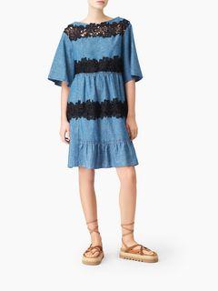 Robe en chambray à empiècements guipure