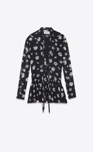 SAINT LAURENT Dresses Woman mini lavallière dress in black etamine with a multicolored daisy print a_V4