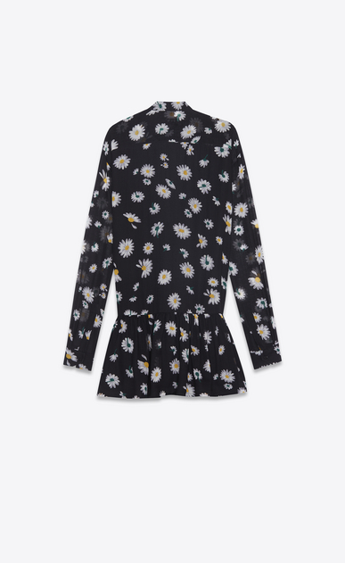 SAINT LAURENT Dresses Woman mini lavallière dress in black etamine with a multicolored daisy print b_V4