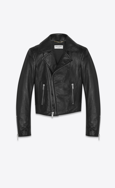 SAINT LAURENT Leather jacket Woman Short black leather biker jacket a_V4