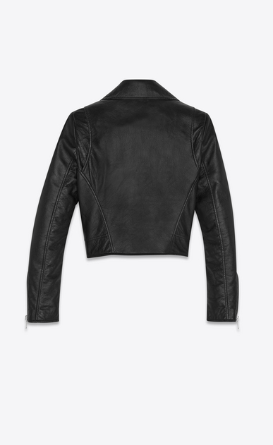 SAINT LAURENT Leather jacket Woman Short black leather biker jacket b_V4