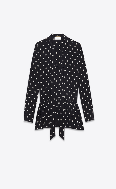 SAINT LAURENT Dresses Woman Mini lavallière dress in black crepe de chine with a white polka dot print a_V4