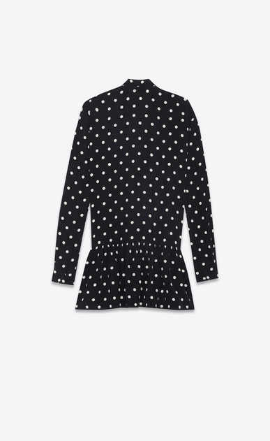 SAINT LAURENT Dresses Woman Mini lavallière dress in black crepe de chine with a white polka dot print b_V4