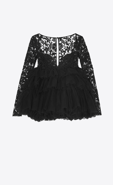 SAINT LAURENT Dresses Woman Mini bubble dress in black lace and tulle a_V4